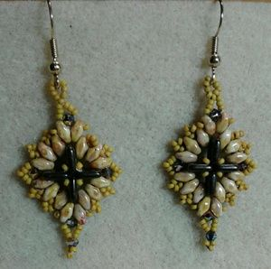 Custom handmade beaded cross earrings
